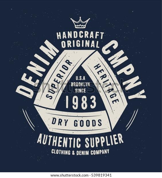 Denim Company Print Tshirt Apparel Retro เวกเตอร์สต็อก (ปลอด