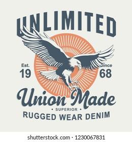 Denim eagles typography, tee shirt graphics, vectors