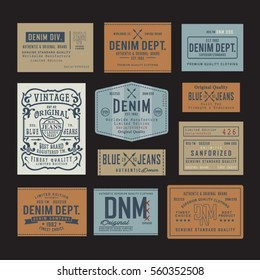 Denim embroidery typography, tee shirt graphics, vectors