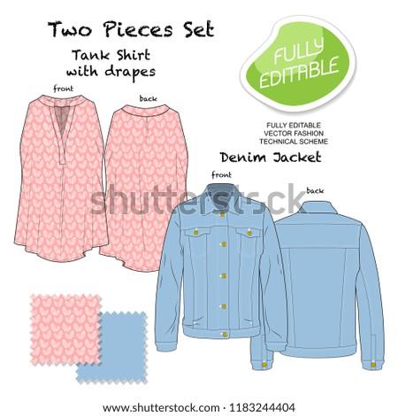 Denim Jacket Tank Blouse Vector Fashion Stock Vector Royalty Free