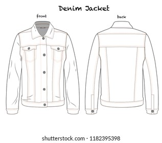 Denim Jacket Vector Editable Technical Template