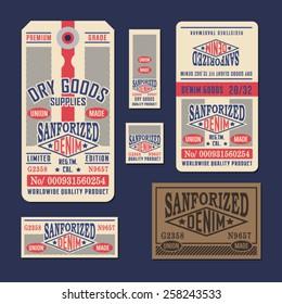 Denim labels typography, t-shirt graphics, vectors