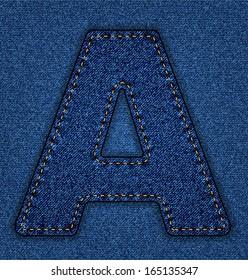 Denim letter A. Jeans alphabet.  Vector font with background