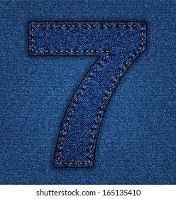 Denim number 7. Jeans alphabet.  Vector font with background