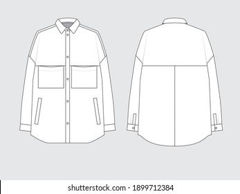 denim overshirt, front and back, drawing flat sketches with vector illustration by sweettears
