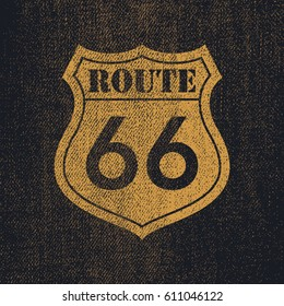 Denim Route 66 - Vintage roadsign illustration