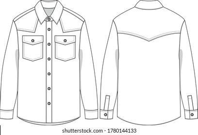 denim Shirt, SVG, western shirt,  Fashion Vector Sketch