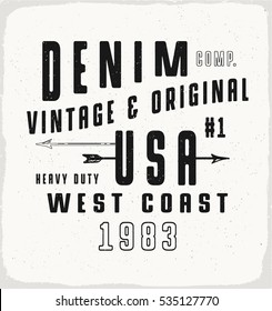 Denim USA print for t-shirt or apparel. Retro artwork in black and white  for fashion and printing. Old school vector graphic with traditional theme and typography. Vintage effects are easily removed.