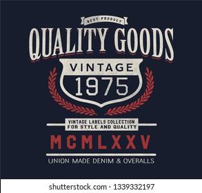 denim vintage label design for t-shirt print