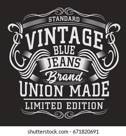 Denim vintage typography, tee shirt graphics, vectors