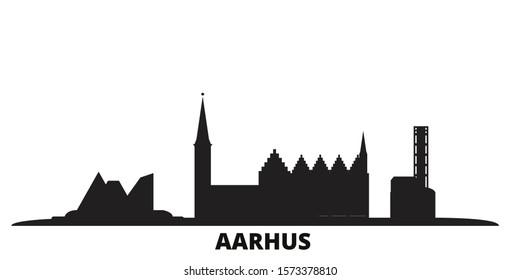 Denmark, Aarhus city skyline isolated vector illustration. Denmark, Aarhus travel black cityscape