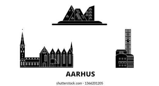 Denmark, Aarhus flat travel skyline set. Denmark, Aarhus black city vector illustration, symbol, travel sights, landmarks.