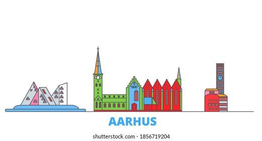 Denmark, Aarhus line cityscape, flat vector. Travel city landmark, oultine illustration, line world icons