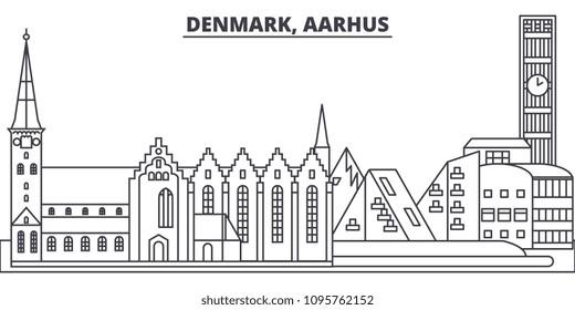 Denmark, Aarhus line skyline vector illustration. Denmark, Aarhus linear cityscape with famous landmarks, city sights, vector landscape.