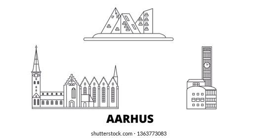 Denmark, Aarhus line travel skyline set. Denmark, Aarhus outline city vector illustration, symbol, travel sights, landmarks.