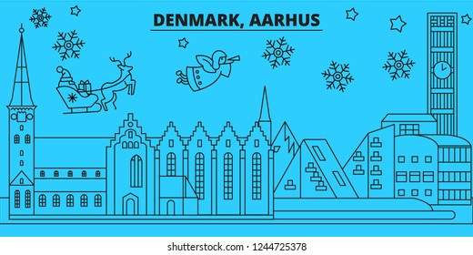 Denmark, Aarhus winter holidays skyline. Merry Christmas, Happy New Year decorated banner with Santa Claus.Denmark, Aarhus linear christmas city vector flat illustration