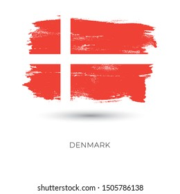Denmark colorful brush strokes painted national country flag icon. Painted texture.