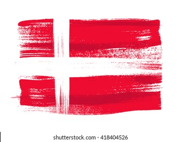Denmark colorful brush strokes painted national scandinavian country Danish flag icon. Painted texture.