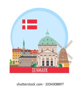 Denmark Copenhagen background with national attractions. Vector illustration. Icon for travel agency.
