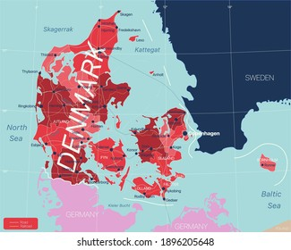 Denmark country detailed editable map with regions cities and towns, roads and railways, geographic sites. Vector EPS-10 file