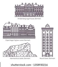 Denmark or danish medieval buildings in thin line