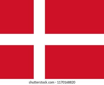 Denmark, Dannebrog. Danish flag. Official colors. Correct proportion. Vector illustration