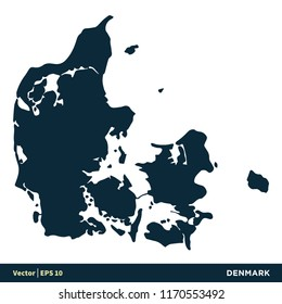 Denmark - Europe Countries Map Vector Icon Template