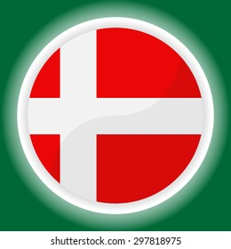 Denmark flag button on  green  background