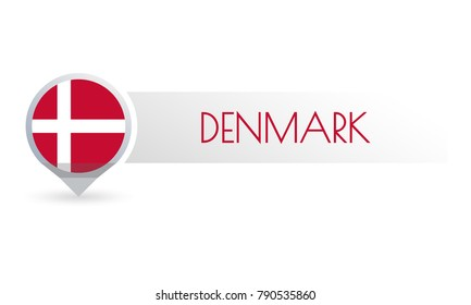 Denmark flag. Circle flag button in the map marker shape. Danish country icon, badge or banner. Vector illustration.
