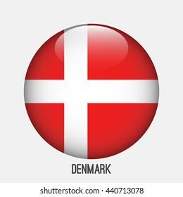 Denmark flag in circle shape. Transparent,glossy,glass button