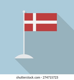 Denmark flag with flagpole flat icon with long shadow. Vector illustration EPS10