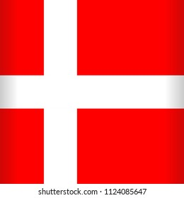Denmark Flag, red background with a white Cross Vector illustration