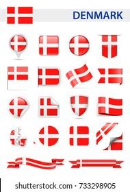Denmark Flag Set - Vector Illustration