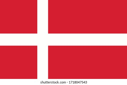 Denmark flag vector graphic. Rectangle Danish flag illustration. Denmark country flag is a symbol of freedom, patriotism and independence.