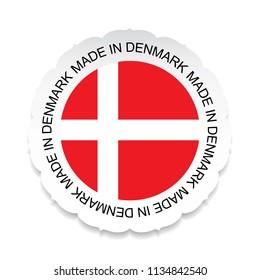 Denmark Flag vector.Denmark national official colors, Made in Denmark on a white background