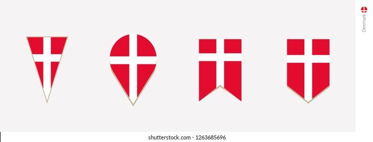 Denmark flag in vertical design, vector illustration.