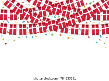 Denmark flags garland white background with confetti, Hang bunting for Danish national Day celebration template banner, Vector illustration