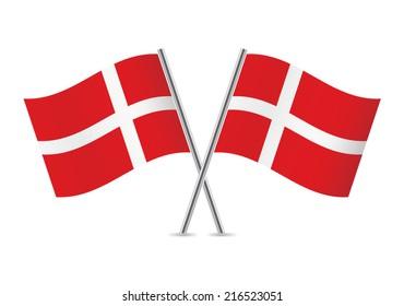 Denmark flags. Vector illustration.