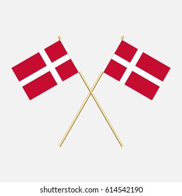 Denmark; Denmark  Flags. Vector illustration.