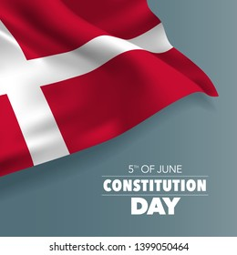 Denmark happy constitution day greeting card, banner vector illustration. Danish holiday 5th of June design element with flag with curves