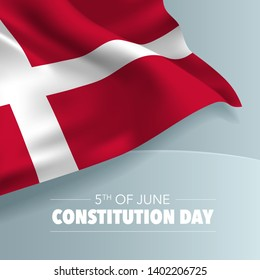Denmark happy constitution day greeting card, banner, vector illustration. Danish national day 5th of June background with elements of flag, square format