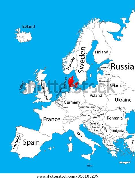 Denmark High Detailed Vector Map Europe Stock Vector ...