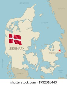 Denmark highly detailed map with territory borders, European country political map with Copenhagen capital city and waving national flag vector illustration