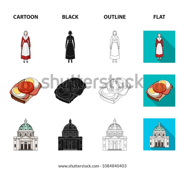 Denmark, history, restaurant, and other web icon in cartoon,black,outline,flat style.Sandwich, food, bread, icons in set collection.