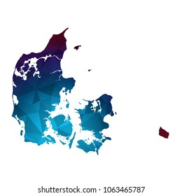 Denmark map - Colorful Polygonal map of Denmark rumpled triangular low poly style gradient graphic background , Vector illustration eps 10.