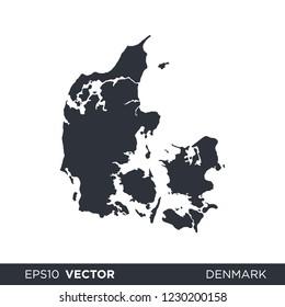 Denmark map - europe state map vector logo template