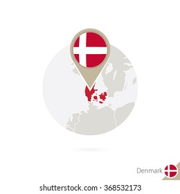 Denmark map and flag in circle. Map of Denmark, Denmark flag pin. Map of Denmark in the style of the globe. Vector Illustration.
