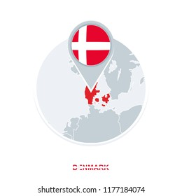 Denmark map and flag, vector map icon with highlighted Denmark