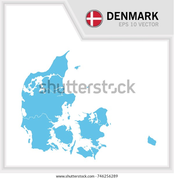 Denmark map and flag in white background