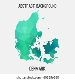 Denmark map in geometric polygonal,mosaic style.Abstract tessellation,modern design background,low poly. Vector illustration.